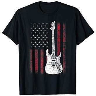 Guitar T Shirt American US Flag Music Player Tee Gifts