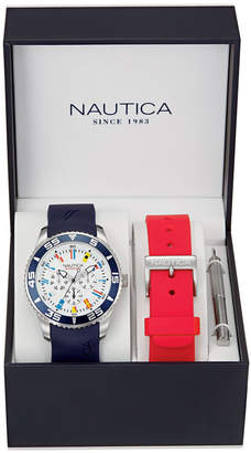Nautica Men NAD13502G Nst 07 Multifunction Navy Silicone Strap Watch Box Set with Red Silicone Strap