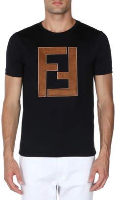 Fendi Faux-Leather Logo T-Shirt