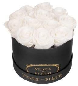 VENUS ET FLEUR Classic Small Round Box with Pure White Roses
