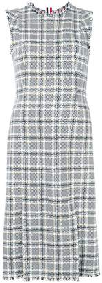 Thom Browne Sleeveleshort Sleeve 4-vent Pencil Dreshort Sleeve With Fray In Madras Cotton Tweed