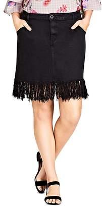 City Chic Plus Fringe Hem Denim Skirt in Black