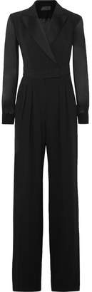 Max Mara Silk Chiffon-paneled Crepe Jumpsuit - Black