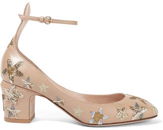 Valentino - Tango Embellished Leather Pumps - Beige $1,395 thestylecure.com
