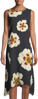 Lafayette 148 New York Romona Sleeveless Artful Floral-Print Dress, Multi