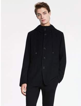 Calvin Klein tucked wool hooded jacket