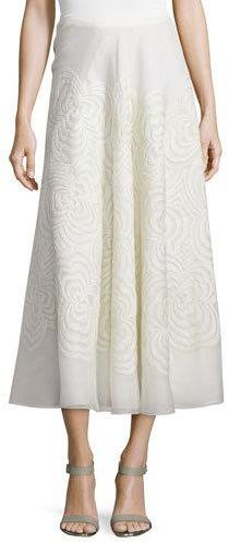 Ralph Lauren Collection Roxanne Embroidered Midi Skirt, Cream