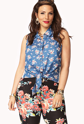 Forever 21 Garden Party Chambray Shirt