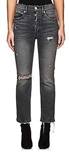 Adaptation Women's Distressed Crop Flared Jeans-Black Size 24