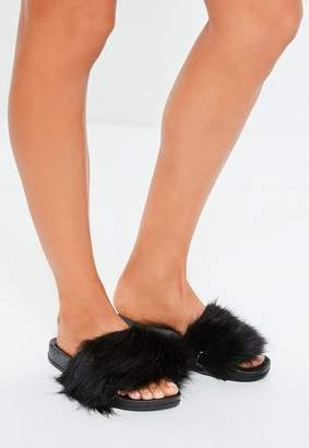 c3b43b23e36f Missguided Black Faux Fur Fluffy Sliders