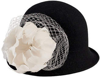 San Diego Hat Company Wool Felt Cloche With Flower Trim And Jewel Detail