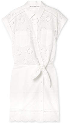 Veronica Beard Bettina Tie-front Broderie Anglaise Cotton Mini Dress - White