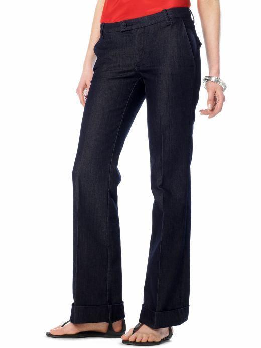 Classic dark wash cuffed trouser jean