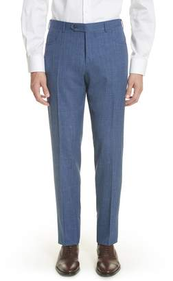 Canali Flat Front Solid Wool Blend Trousers