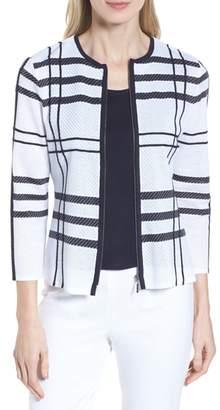 Ming Wang Plaid Jacquard Jacket