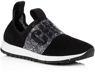 Jimmy Choo Women's Oakland Embellished Mesh & Suede Slip-On Sneakers