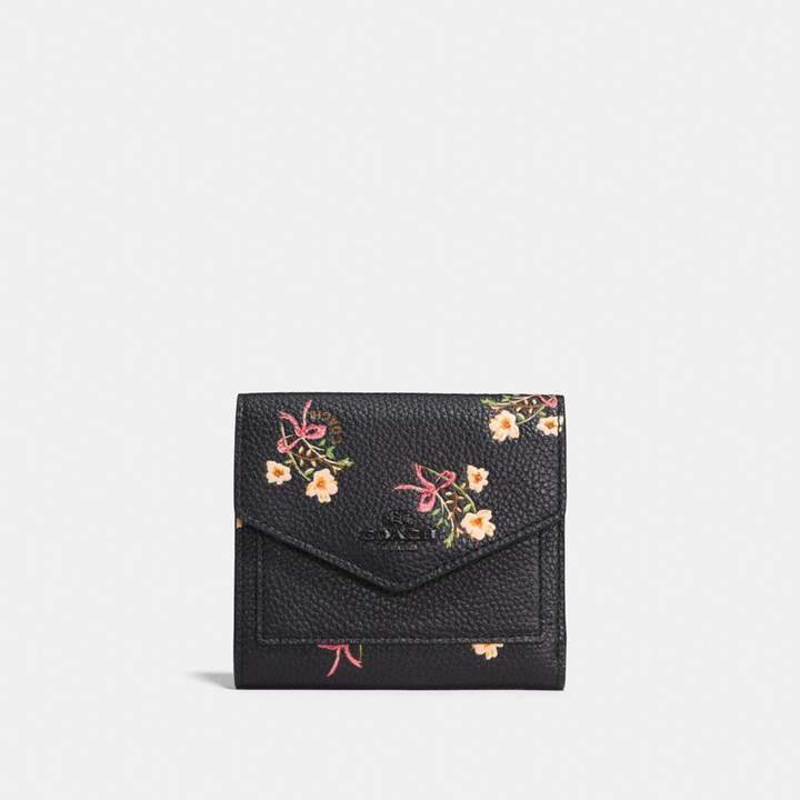 Coach Small Wallet With Floral Bow Print - BLACK/BLACK COPPER - STYLE