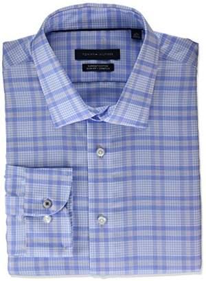 Tommy Hilfiger Men's Dress Shirt Stretch Slim Fit Plaid