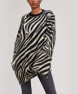 ALEXACHUNG Oversized Asymmetric Zebra Jumper