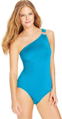 Michael Kors Women's One-Shoulder Hardware Swimsuit