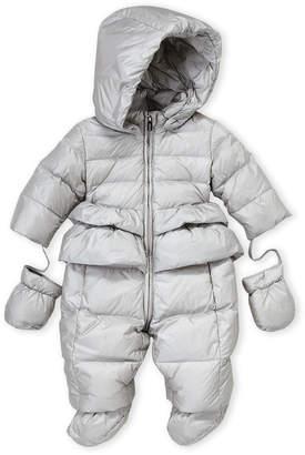 ADD Newborn Girls) Hooded Down Snowsuit