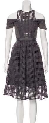 Self-Portrait Perforated Short Sleeve Midi Dress w/ Tags
