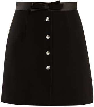 Clear crystal-embellished cady skirt