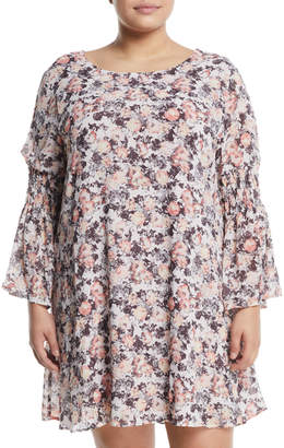 Bobeau Plus Jude Floral Bell-Sleeve Shift Dress, Plus Size