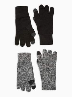 Topman Mens Multi Salt And Pepper Touchscreen Gloves 2 Pack