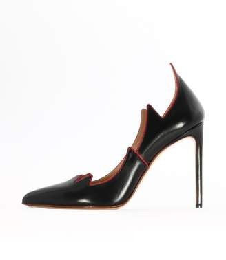 Francesco Russo Black Leather Flame Pump