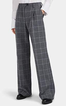 Acne Studios Women's Plaid Cotton-Blend Wide-Leg Trousers - Navy