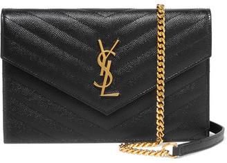 Saint Laurent - Monogramme Small Quilted Textured-leather Shoulder Bag - Black $1,275 thestylecure.com