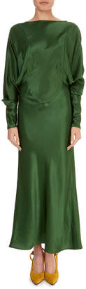 Victoria Beckham Open-Back Long-Sleeve Draped Midi Dress
