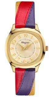 Salvatore Ferragamo Time Stainless Steel Leather-Strap Watch