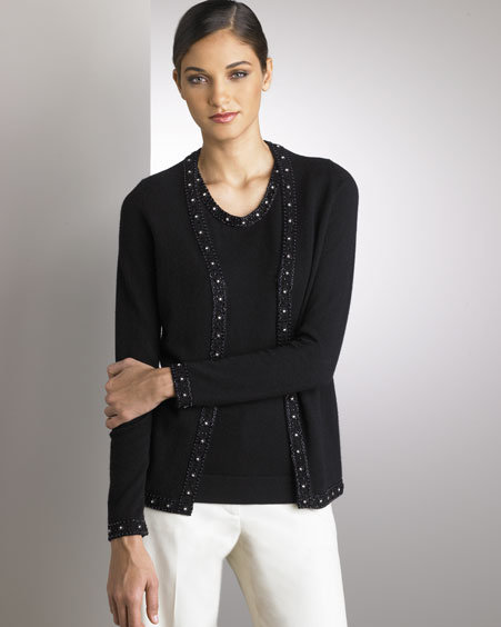 NM Exclusive Beaded Cashmere Cardigan