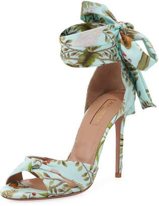 Aquazzura de Gournay Jacquard Ankle-Wrap 105mm Sandal