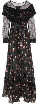 Preen by Thornton Bregazzi Lydia Lace-Paneled Printed Devoré Silk-Blend Chiffon Gown