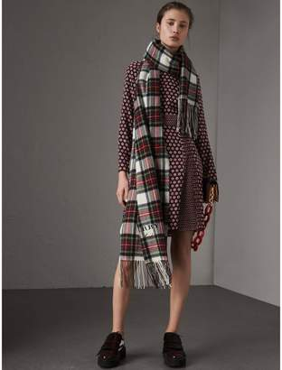 Burberry Long-sleeve Spot Print Silk Dress