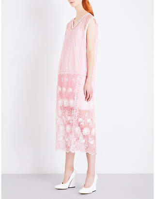 Burberry Floral-embroidered tulle midi dress
