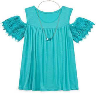 Arizona Crochet Sleeve Cold Shoulder Top - Girls' 4-16 & Plus