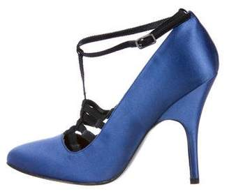 Lanvin Satin Ankle Strap Pumps