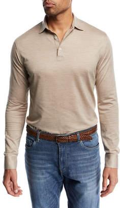 Peter Millar Kilimanjaro Silk-Blend Long-Sleeve Polo Shirt