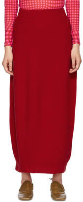 Jil Sander Red Ribbed Skirt
