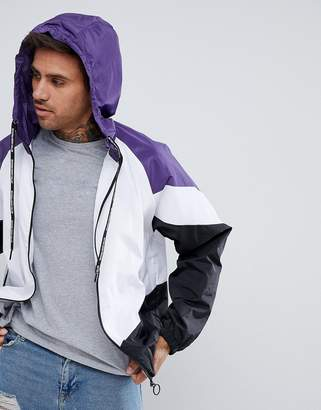Pull&Bear Windbreaker With Hood In Purple Color Block