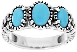 American West Sleeping Beauty Turquoise Sterl.3-Stone Ring