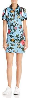 Pam & Gela Striped-Trim Floral Print Dress
