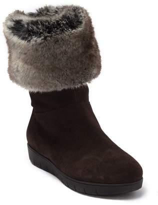 Aquatalia Walda Faux Fur Trimmed Waterproof Hidden Wedge Boot