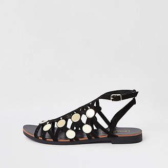 River Island Black caged stud embellished sandals