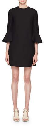 Valentino Crewneck 3/4-Sleeve Straight Crepe Couture Dress