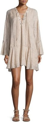 Iro Ralene Printed Chiffon Shift Dress, Nude $440 thestylecure.com